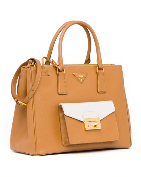 Saffiano Bi-Color Pocket Tote Bag, Brown/White (Caramel+Talco)
