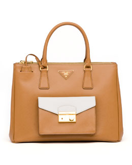 Prada Saffiano Bi-Color Pocket Tote Bag, Caramel/White