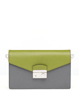 Prada Saffiano Bi-Color Shoulder Bag, Green/Gray