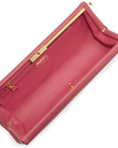 Saffiano East-West Frame Clutch Bag, Pink (Peonia)