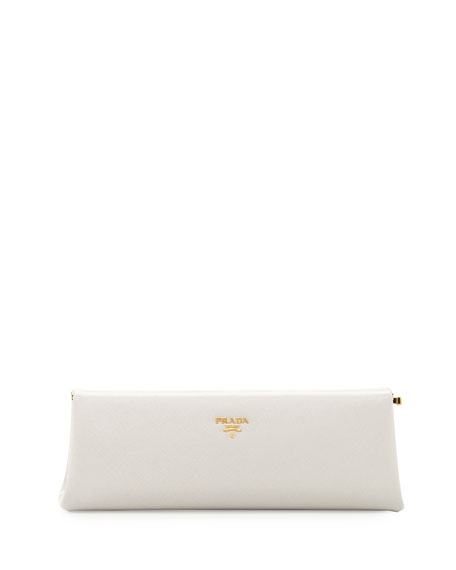 Saffiano East-West Frame Clutch Bag, White (Talco)