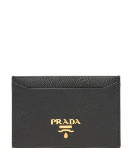 Prada Saffiano Card Case, Black (Nero)