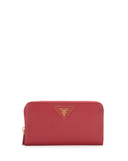 Prada Saffiano Triangle Zip-Around Wallet, Pink (Peonia)