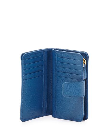 Prada Saffiano Triangle Bi-Fold Tab Wallet, Cobalt (Cobalto)