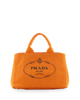 Prada Canapa Small Logo Tote with Strap, (Orange) Papaya