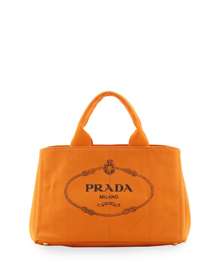 9405ce38416523 Prada Canapa Logo Tote with Strap, (Orange) Papaya