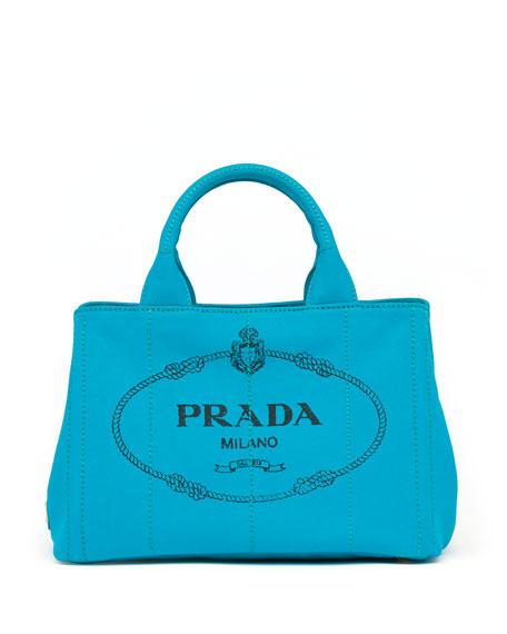 prada fake - Prada Canapa Mini Logo Tote Bag, Turquoise (Pavone)
