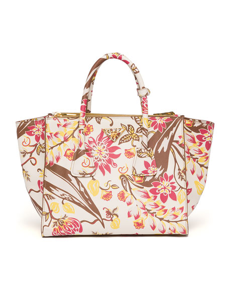 Prada Floral-Print Saffiano Large Twin Pocket Tote Bag, White ...