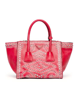 Prada Vintage Vitello Small Twin Pocket Tote Bag, Red