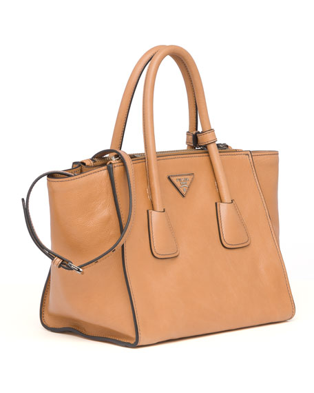 d8b7cb0d982f Prada Glace Calf Twin Pocket Tote Bag, Natural (Naturale)