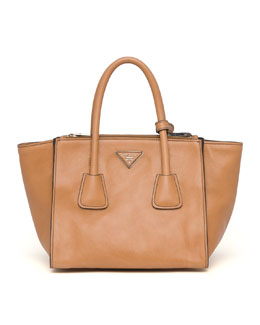 Prada Glace Calf Small Twin Pocket Tote Bag, Natural (Naturale)