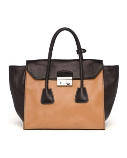 Prada Glace Calf Large Twin Pocket Tote Bag, Natural/Black