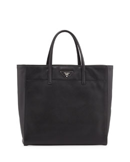 Prada Saffiano Magazine Shoulder Tote Bag, Black (Nero)
