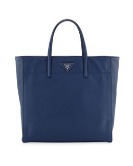 Prada Saffiano Magazine Shoulder Tote Bag, Blue (Bluette)