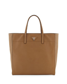 Prada Saffiano Magazine Shoulder Tote Bag, Brown (Caramel)