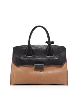 Prada Glace Calf Bicolor Satchel Bag, Natural/Black (Naturale+Nero)