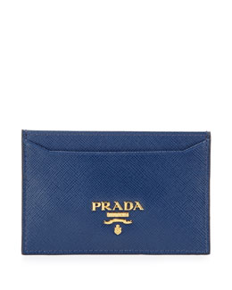 Prada Saffiano Card Holder, Blue (Bluette)