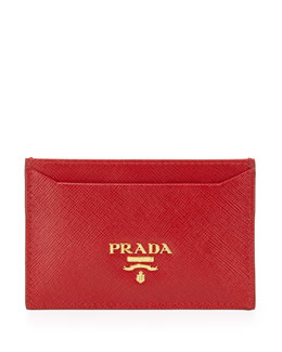 Prada Saffiano Card Holder, Red (Fuoco)