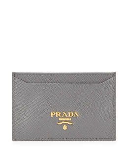 Prada Saffiano Card Holder, Gray (Marmo)