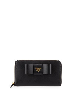 Prada Saffiano Fiocco Zip-Around Bow Wallet,  Black (Nero)