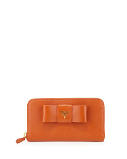 Prada Saffiano Fiocco Zip-Around Bow Wallet, Orange (Papaya)