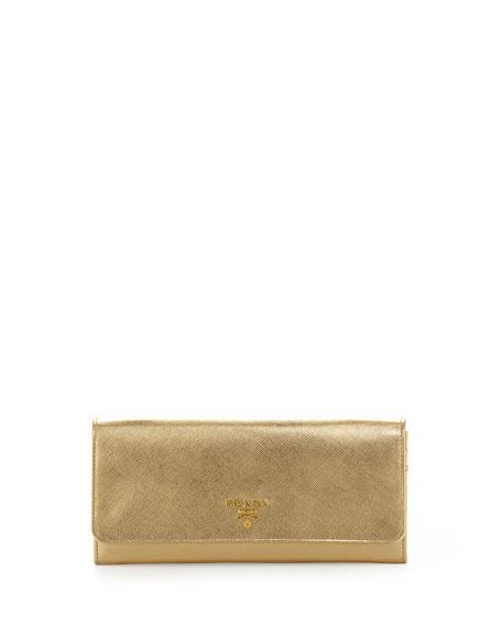 Prada Saffiano Metallic Wallet on Chain, Gold (Platino)