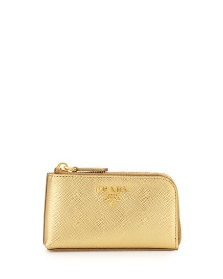 bc2e0be33edc Prada Saffiano Key Pouch, Golden(Platino)