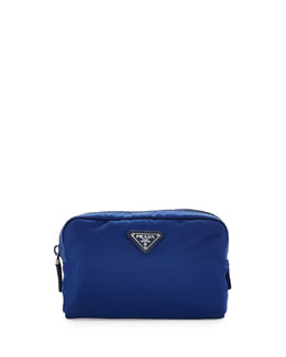 Prada Vela Square Cosmetic Bag, Blue (Bluette)
