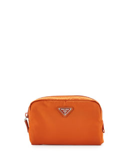Prada Vela Square Cosmetic Bag, Orange (Papaya)