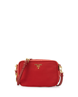 Prada Small Tessuto Zip Crossbody Bag, Red (Rosso)