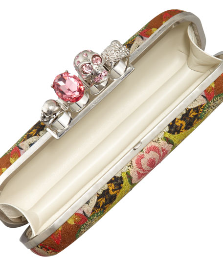 Floral-Print Long Knuckle-Duster Clutch Bag
