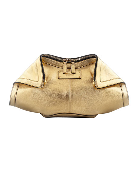 Metallic De-Manta Leather Clutch Bag, Gold