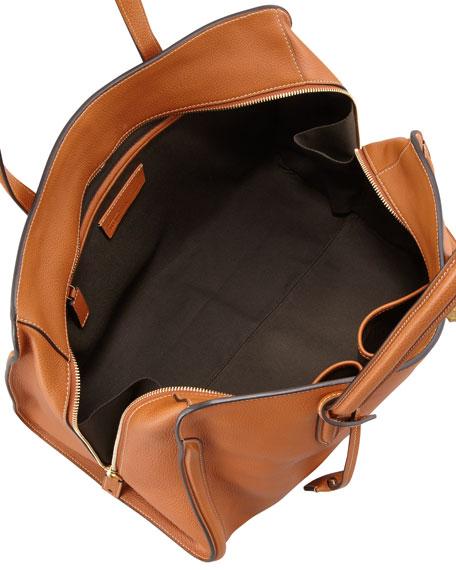 Skull Padlock Zip-Around Tote Bag, Tan
