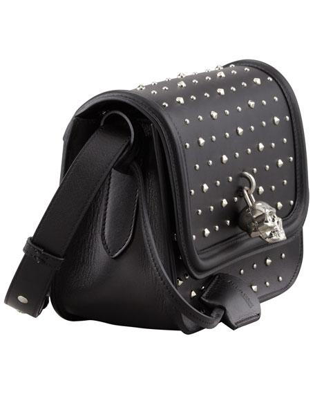Small Studded Padlock Crossbody Bag, Black