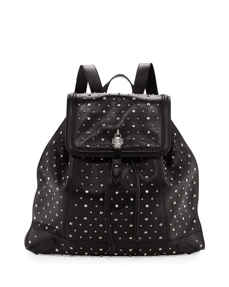 Studded Leather Skull-Padlock Backpack, Black