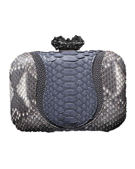 Batasha Python & Stingray Clutch Bag, Natural/Gray
