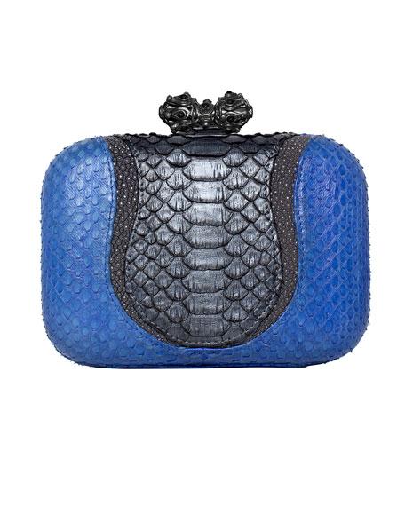 Batasha Python & Stingray Clutch Bag, Blue/Gray