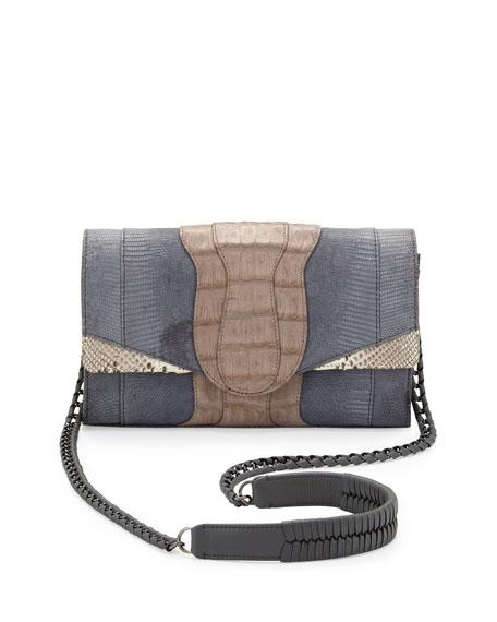 Herzog Mini Python and Crocodile Clutch Bag, Gray Multi
