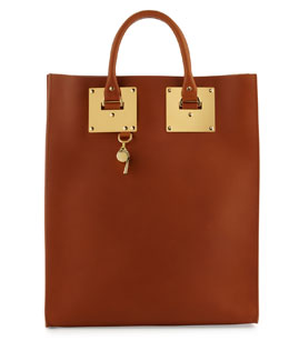 Sophie Hulme Leather Tote Bag with Whistle Charm, Tan