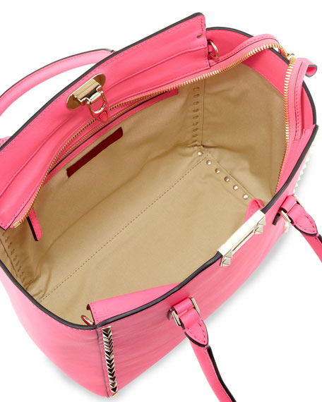 Rockstud Shopper Tote Bag, Hot Pink