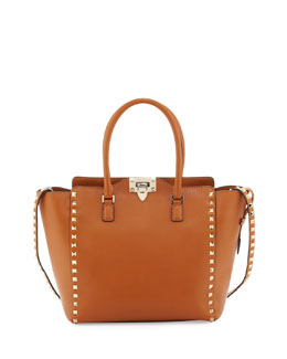 Valentino Rockstud Medium Square Shopper Tote Bag, Tan