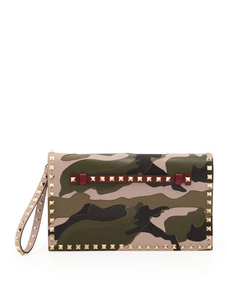 Rockstud Camouflage Clutch Bag, Multi