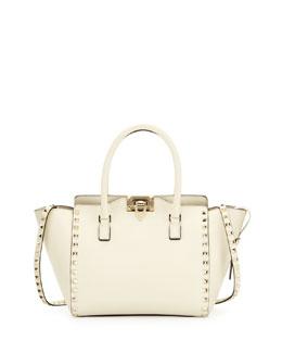 Valentino Rockstud Shopper Tote Bag, Ivory