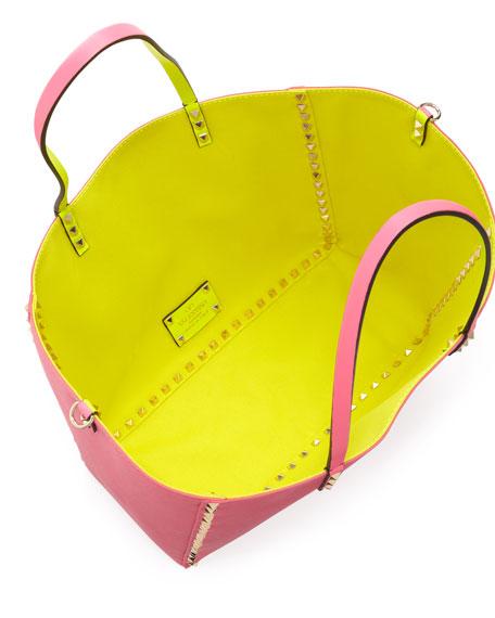Rockstud Medium Reversible Canvas Tote Bag, Pink/Yellow
