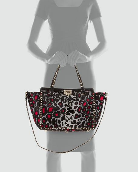 Rockstud Medium Leopard-Print Tote Bag
