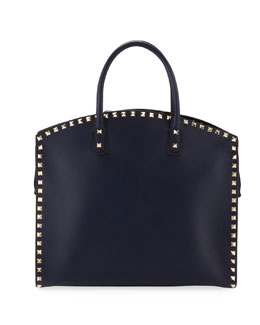 Valentino Rockstud Zip Dome Bag, Navy