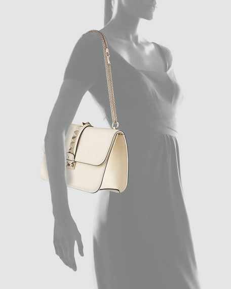 Rockstud-Trim Lock Flap Bag, Ivory