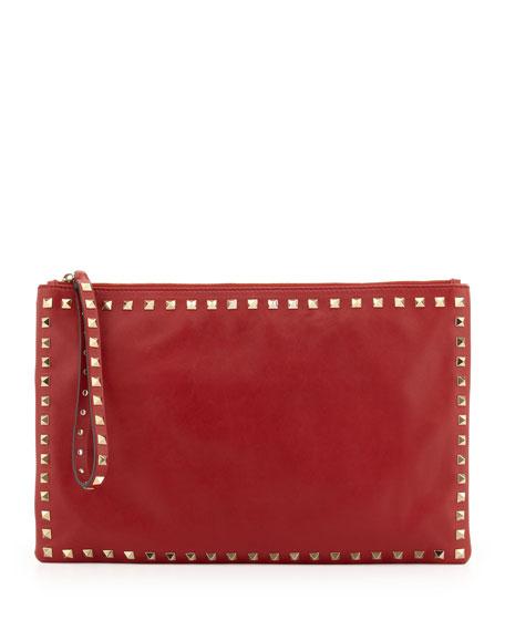 Valentino Rockstud Wristlet Clutch Bag, Red