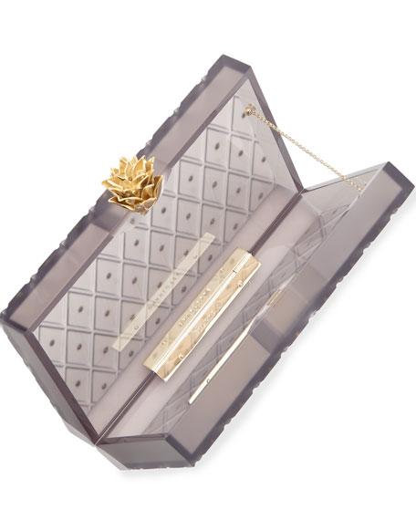Prickly Pineapple Pandora Box Clutch, Black