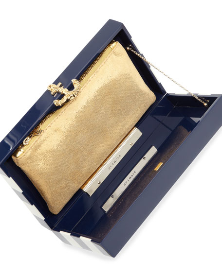 Pandora Nautical Stripes Box Clutch, Navy